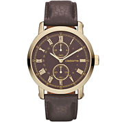 Claiborne Mens Brown Leather Gold-Tone Watch