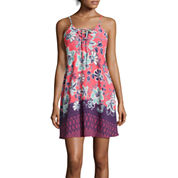 Trixxi® Spaghetti-Strap Printed Lace-Up Crepeon A-Line Dress