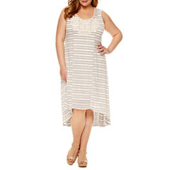 Unity Sleeveless Embroidered Knit Sheath Dress-Plus