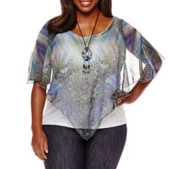 Unity World Wear Short Sleeve Scoop Neck Knit Blouse-Plus