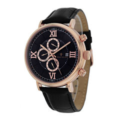 Christian Van Sant Somptueuse Mens Black Leather Strap Watch