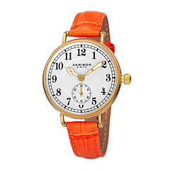 Akribos XXIV Velvet Womens Orange Leather Strap Watch