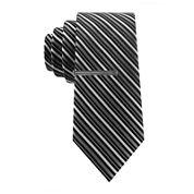 JF J. Ferrar® Huck Striped Tie and Tie Bar Set - Slim