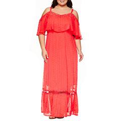Ashley Nell Tipton for Boutique + ColdShoulder Maxi Dress-Plus