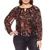 Boutique + 3/4 Sleeve V Neck Woven Blouse-Plus