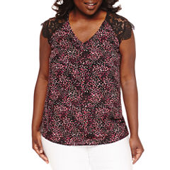 City Streets Short Sleeve V Neck Woven Blouse-Plus