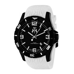 Jivago Ultiimate Mens Black Dial White Silicone Strap Watch