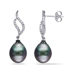 1/10 CT. T.W. Diamond and Black Tahitian Pearl 10K White Gold Earrings