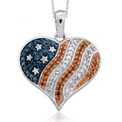 1/4 CT. T.W. White and Color-Enhanced Blue and Red Diamond Flag Heart Pendant Necklace