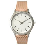 Olivia Pratt Textured Womens Pink Strap Watch-16346
