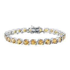 Womens Orange Citrine Sterling Silver Tennis Bracelet
