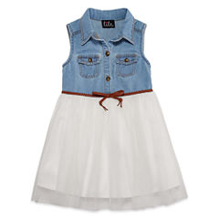 Lilt Short Sleeveless Denim Tutu Dress  - Toddler Girls