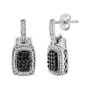 3/8 CT. T.W. White and Color-Enhanced Black Diamond Frame Earrings