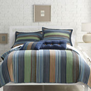 Neutral Retro Chic Cotton Striped Quilt & Accessories