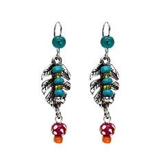Aris by Treska Silver-Tone Linear Leaf Earrings