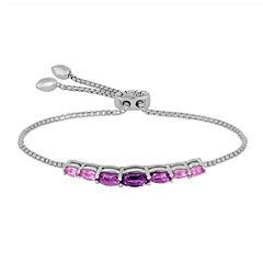 Rhythm and Muse Genuine Amethyst Sterling Silver Bolo Bracelet