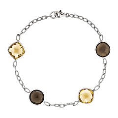 Genuine Yellow Citrine and Smoky Quartz Sterling Silver Bracelet