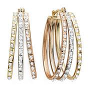 Diamond Fascination™ 14K Tri-Color Diamond Accent Triple Oval Hoop Earrings