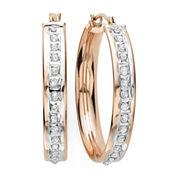 Diamond Fascination™ 14K Rose Gold Diamond Accent Flat Hoop Earrings