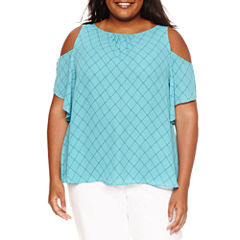 Worthington Short Sleeve Scoop Neck Woven Blouse-Plus
