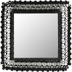 Square Tube Black Wall Mirror