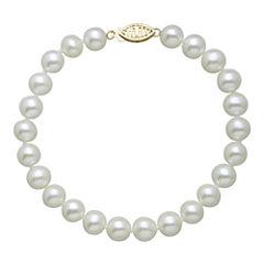 Certified Sofia™ 14K Gold Cultured 6-6.5mm Freshwater Pearl Bracelet