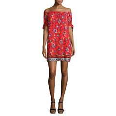 My Michelle Short Sleeve Floral A-Line Dress-Juniors