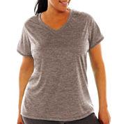 Xersion™ Short-Sleeve V-Neck Melange T-Shirt - Plus