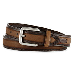 Columbia® Brown Leather Logo Buckle Belt