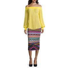 Bisou Bisou® Long-Sleeve Off-The-Shoulder Smocked Top or Shirred Tube Skirt