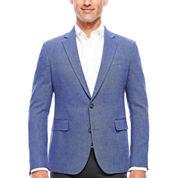 Stafford Linen Cotton Blue Herringbone Sport Coat- Slim