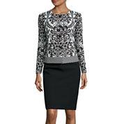 Isabella Long-Sleeve Jaquard Jacket Skirt Suit