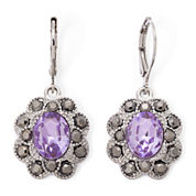 Monet® Purple Stone and Marcasite Earrings
