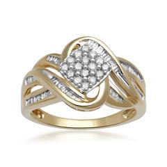1/2 CT. T.W. Diamond 10K Yellow Gold Multi-Top Bypass Ring