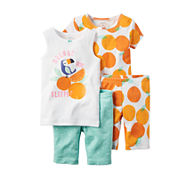 Carter's® 4-pc. Orange You Sleepy Pajama Set - Toddler Girls 2t-5t