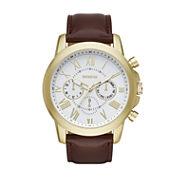 Geneva Mens Brown Strap Watch-Fmdjm570
