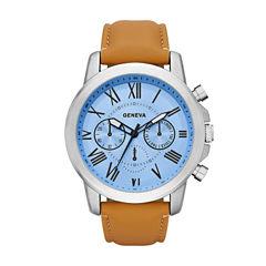 Geneva Mens Brown Strap Watch-Fmdjm572