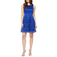 Danny & Nicole Sleeveless Lace Fit & Flare Dress