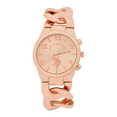 U.S. Polo Assn.® Womens Rose Gold-Tone Link Bracelet Watch