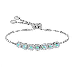 Rhythm and Muse Lab Created Opal & White Sapphire Sterling Silver Bracelet