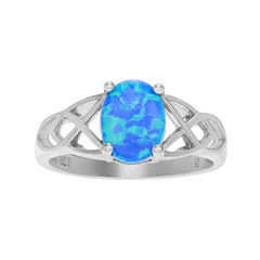 Simulated Blue Opal Sterling Silver Celtic Design Ring