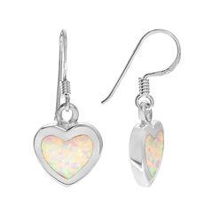 Lab-Created Opal Sterling Silver Heart Dangle Earrings
