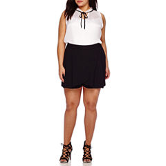 Boutique+ Sleeveless Tie-Front Blouse, Wrap-Front Skort or Short-Sleeve Button-Front Shirt - Plus