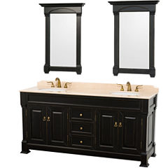 Andover 72 inch Double Bathroom Vanity; Ivory Marble Countertop; Undermount Oval Sinks; and 28 inchMirrors