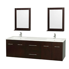 Centra 72 inch Double Bathroom Vanity; White Man-Made Stone Countertop; Undermount Square Sink; and24 inch Mirrors