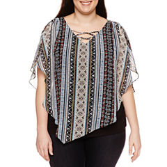 Alyx Short Sleeve V Neck Woven Blouse-Plus