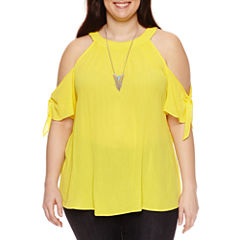 Alyx Short Sleeve Cold Shoulder Woven Blouse with Necklace-Plus