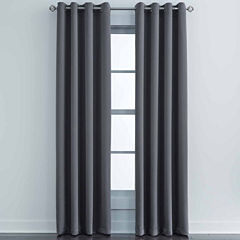JCPenney Home Made-To-Length Matte Satin Grommet-Top Blackout Lined Curtain Panel