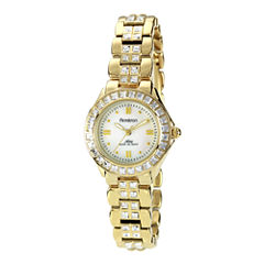 Armitron® Now® Womens Crystal-Accent Gold-Tone Brass Watch