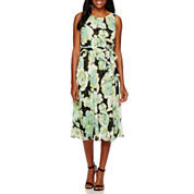 Black Label by Evan-Picone Sleeveless Floral A-Line Dress